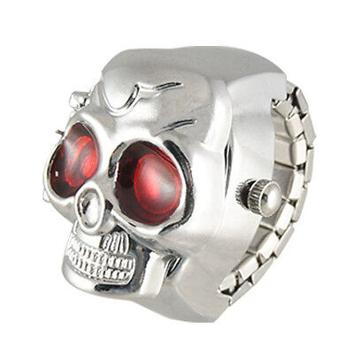 Practical Red Eyes Skull Design Stretchy Band Quartz Ring Watch for Lady Men SH
