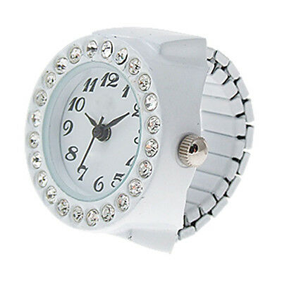 Practical Superior White Finger Ring Watch Chic White Rhinestone For Ladies SH