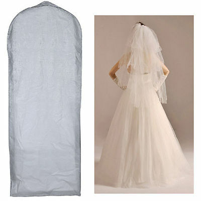 "61""Waterproof Wedding Dress Bridal Gown Garment Cover Storage Bag Carrier Zip SH"