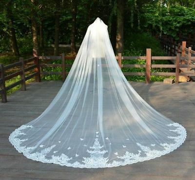 New Handmade 3M 4M 5M Cathedral Long Bridal Veils Wedding Veil 1T Lace +comb
