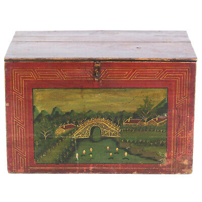 "Antique Chinese 31"" wide Red Trunk w Beautiful Hand Painted Scenes"