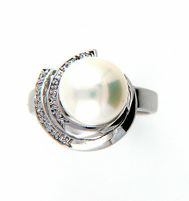 Genuine 10-11mm Freshwater White Pearl Sterling Silver Ring Size M New