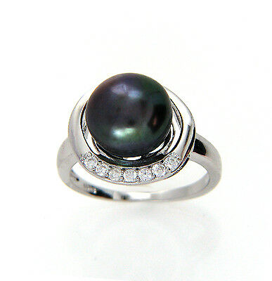 Black Pearl Sterling Silver Ring, Genuine 9-10mm Freshwater Pearl in 925 Silver