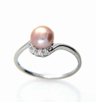 Genuine 6-7mm Freshwater Lavender Pearl Sterling Silver Ring Size O New