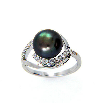9-10mm Black Pearl Ring in Sterling Silver, Freshwater Pearl Ring in 925 Silver