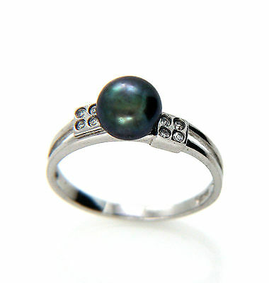 Genuine 6-7mm Freshwater Black Pearl Sterling Silver Ring Size L1/2 New
