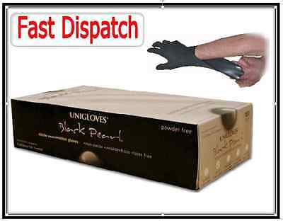 Uniglove Powder Free Commercial Black Nitrile Gloves Tattoo Mechanic Boxed x 100
