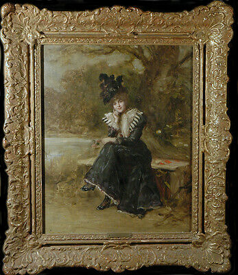 19th Century Oil Painting by Alfred Seifert CZECH 1850-1901 Woman in Park