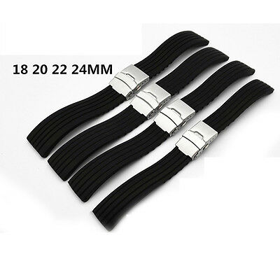 Black Waterproof Silicone Rubber Watch Strap Band Deployment Buckle