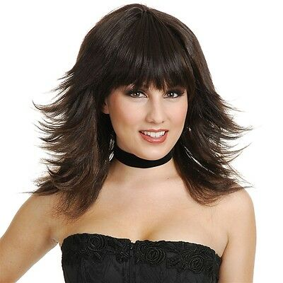 Feathered Flirt Wig (Brown, Blonde, or Black), Charades