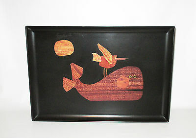 Couroc Serving Tray Inlaid Wood Brass Whale Seagull Phenolic Monterey California