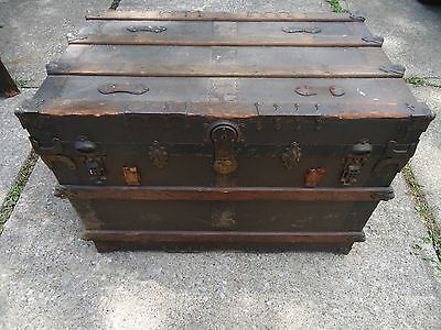 Antique Steamer Trunk Vintage Fancy Flat Top Wooden Travel Chest