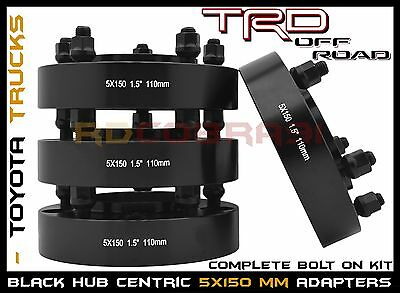 "4 Pc 1.5""  Toyota Tundra Land Cruiser Sequoia Black Hub Centric Wheel Spacers"