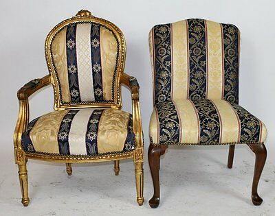Pair of Two [2] Silk Embroidered Chairs
