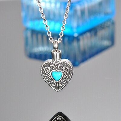 Turquoise Heart Cremation Jewelry Keepsake Memorial Urn Necklace Ash Holder