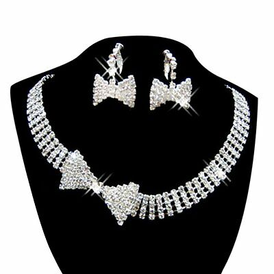 Women's Jewelry Set Bridal Wedding Bow Multilayer Pearls Necklace Earrings DT