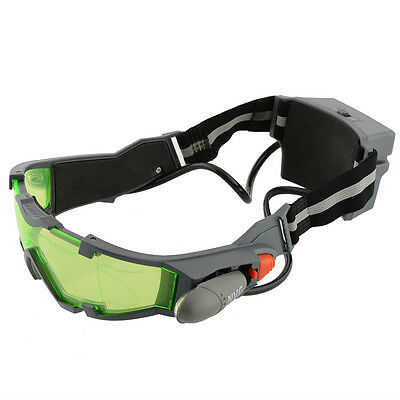 New Adjustable LED Night Vision Goggles Eye shield Green Lens view Glasses