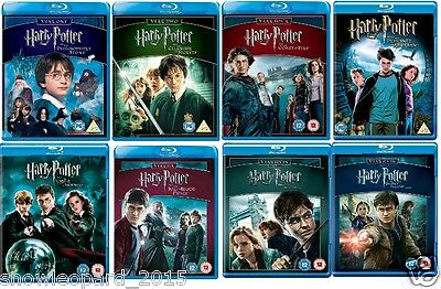 Harry Potter Complete Collection Blu Ray 1 2 3 4 5 6 7 8 All Movie Film New Uk