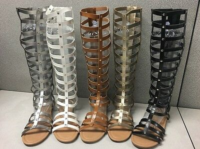 New Fashion ALYSSA-26  SandWomen's Caged Knee High Gladiator Flat Sandals 6-10