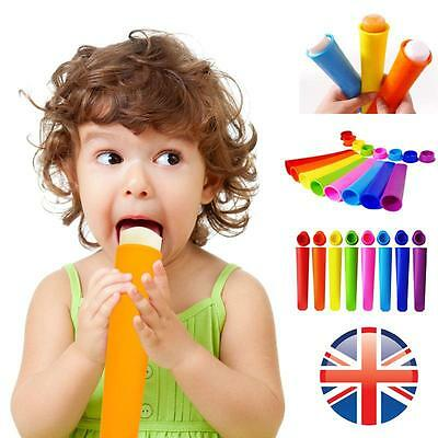 *UK Seller* 10X Silicone Ice Cream Pole Mold Lollies Maker Push Up Lolly Mould