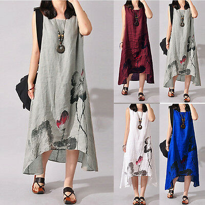 Plus Women Sleeveless Loose Cotton Linen Summer Sundress A-line Tank Dress Party