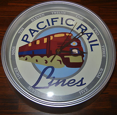 """Pacific Rail Lines Wall Clock 11"""" Round, Railroadiana, Battery Operated"""