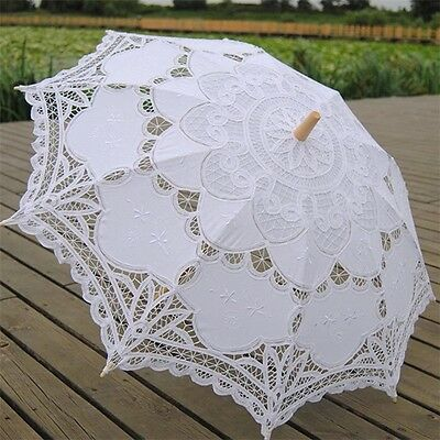 Handmade White Lace Cotton Wedding Umbrella Bridal Sun Parasol Party Decoration