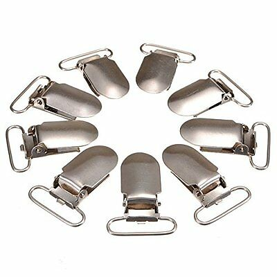 30Pcs Metal Suspender Paci Pacifier Webbing Ribbon Mitten Clips Hook SH
