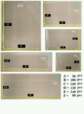 OPP Plastic Sleeve with 6 Different Sizes [Combo Set -Large Pack] for Stamp & Ms