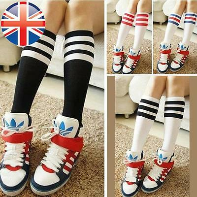 *UK Seller* Kids Girls Cute Fancy Stripe Design Sporty Knee High Socks