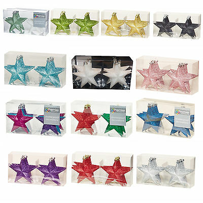 Christmas Tree Decoration 6 Pack 100mm Shatterproof Glitter Star Baubles