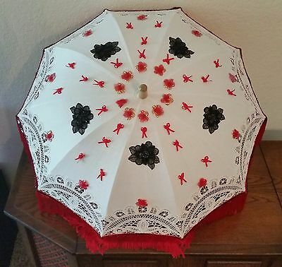 Vintage Parasol Umbrella Wood Handle Lace Ann's White Black Flowers Red Fringed