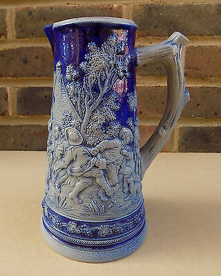 Vintage German SIMON PETER GERZ Relief Stoneware Jug - Country Drinking Scene