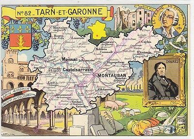 CPSM CARTE GEOGRAPHIQUE DEPARTEMENT TARN ET GARONNE Edt Blondel La Rougery n1