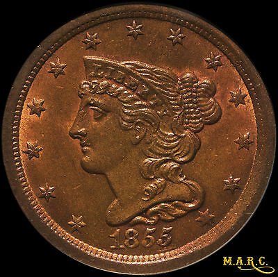 1855 MS64RB PCGS 1/2C Braided Hair Half Cent, Flashy RB Luster!! Free Shipping!!