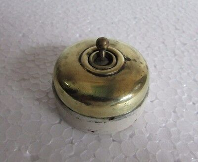 Old Vintage Vitreous Brand Made British, Brass & Ceramic Electric Switch
