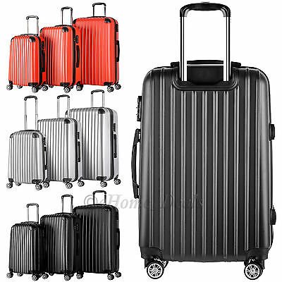 Set Of 3 Travel Luggage 4 Wheels Trolley Suitcase Bag ABS Hard Shell Lightweight