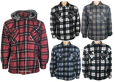 Mens Quilted Padded Shirt Lined Lumberjack Work Flannel Jacket Thick