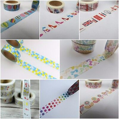 Colourful Washi Tapes, Bright Masking Tapes, Scrapbook Planner Tape FREE UK P&P