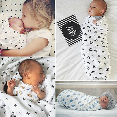 Soft Muslin Baby Swaddling Blanket Newborn Infant Cotton Swaddle Towel 120x120cm