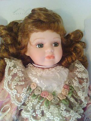 "SEYMOUR MANN 16"" GREEN EYED RED HAIRED PORCELAIN DOLL ""Allie"" NIB w/ tags"