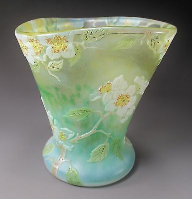 Beautiful LEGRAS Etched Cameo Enameled Art Glass Vase Signed ca.1900 DAUM Era
