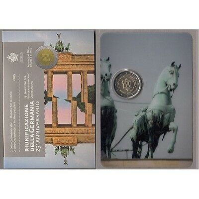 """2015 San Marino 2 euro comm. coin """"Germany Reunification"""" new in folder/blister"""