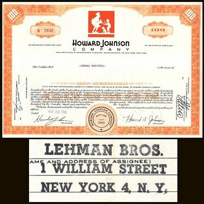 Broker Owned Stock Certificate: Lehman Brothers,  payee; Howard Johnson, issuer