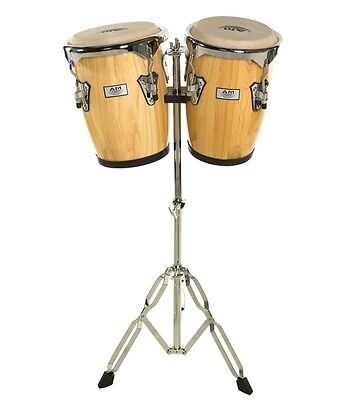 """AM Percussion Congas 9"""" & 10"""" Bongo Conga Set with Stand - NATURAL REAL SKIN"""