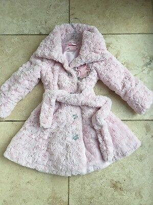 Little Darlings Coat Age 2 Pink Furry Girls Designer Clothes Worn Once