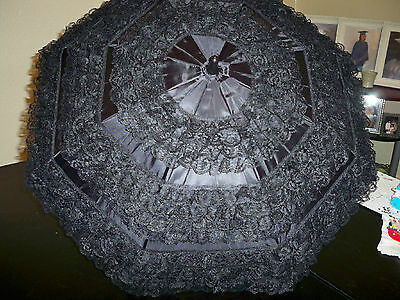 "32""DIAM. GOTHIC/VICTORIAN ""BLACK WIDOW"" 9 ROWS-2"" BLACK LACE on BLACK  PARASOL"