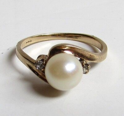 Vintage 14k Gold PEARL & DIAMOND Ring 7mm size 6.25