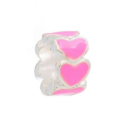 PINK Silver Plated spacer Enamel Heart Beads Fit European Charm Bracelet