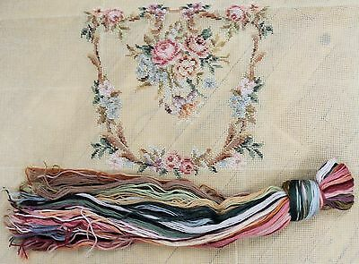 Tramme Needlepoint Canvas for chairs - FLORAL - With Wools for Centre Motif